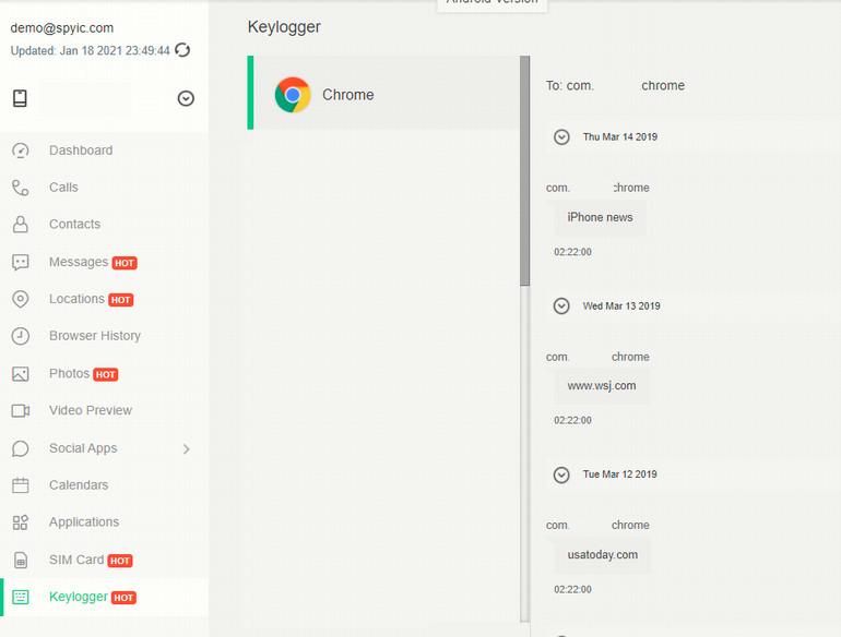 Spyic Iphone Keylogger Dashboard